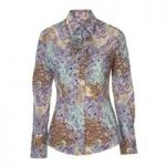 Ladies Blue & Purple Aurelie Paisley Fitted Fashion Shirt with Neck Frill Detail