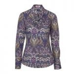 Ladies Purple & Pink Promise Paisley Fitted Fashion Shirt with Neck Frill Detail