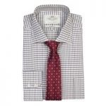 Men's Burgundy & Blue Grid Check Classic Fit Shirt – With Pocket