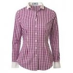 Women's Dark Fuchsia & White Gingham Check Fitted Shirt With Rounded Collar