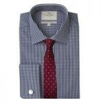 Men's White & Navy Gingham Check Slim Fit Shirt – Double Cuff
