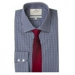Men's White & Navy Gingham Check Slim Fit Shirt – Single Cuff