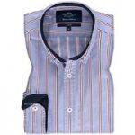 Men's Blue & Red Stripe Oxford Slim Fit Shirt