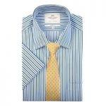 Men's White & Navy Multi Stripe Tailored Fit Short Sleeve Shirt
