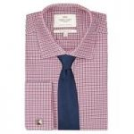 Men's Navy & Red Check Slim Fit Cotton Shirt – Double Cuff