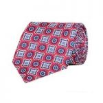 Men's Red & Blue Printed Foulard 100% Silk Tie