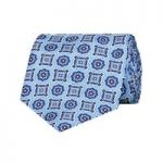 Men's Blue Printed Foulard 100% Silk Tie