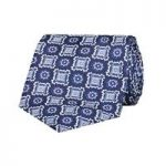 Men's Navy & Light Blue Printed Foulard 100% Silk Tie