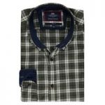 Men's Green & Navy Multi Check Slim Fit Washed Casual Shirt