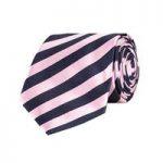 Navy & Light Pink Equal Stripes 100% Silk Tie