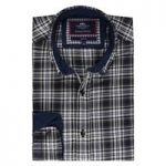 Men's Olive & Navy Multi Check Slim Fit Washed Casual Shirt