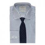 Men's White & Navy Grid Check Classic Fit Shirt – Single Cuff