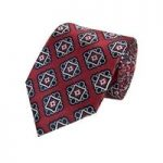 Men's Red & Navy Bold Foulard Tie – 100% Silk