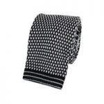 Men's Black & White Dash Silk Knitted Tie