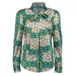 Women's Green Semi Fitted Self Design Shirt With Neck Tie
