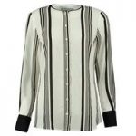 Women's Black & White Stripe Print Boutique Blouse