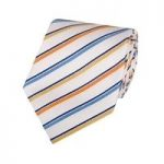 Men's White & Blue Multi Stripes Tie – 100% Silk