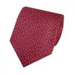 Men's Red & Blue Printed Oval Links Tie – 100% Silk
