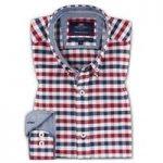 Navy & Red Multi Check Slim Fit Oxford Shirt