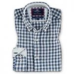 Blue & White Medium Check Classic Fit Linen Shirt