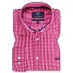 Men's Fuchsia & White Medium Check Slim Fit Shirt