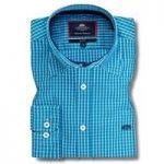 Men's Blue & White Medium Check Slim Fit Shirt