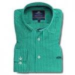 Men's Green & White Medium Check Slim Fit Shirt