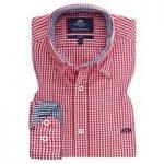 Men's Red & Navy Gingham Check Slim Fit Shirt