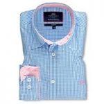 Men's Blue & Pink Gingham Check Slim Fit Shirt