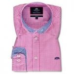 Men's Fuchsia & Royal Blue Gingham Check Slim Fit Shirt