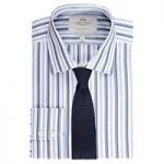 Men's White & Blue Multi Stripe Slim Fit Shirt – Single Cuff