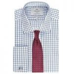 Men's Navy & White Large Grid Check Slim Fit Shirt – Double Cuff
