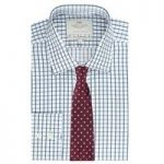 Men's Navy & White Large Check Slim Fit Shirt – Single Cuff