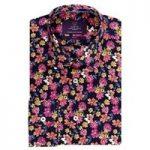 Curtis Navy & Pink Floral Slim Fit Men's Shirt – Single Cuff