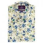 Curtis White & Yellow Floral Slim Fit Men's Shirt – Single Cuff