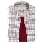 Men's Burgundy & Blue Grid Check Extra Slim Fit Shirt – Single Cuff