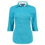 Women's Turquoise Spot Fitted 3 Quarter Sleeve Shirt