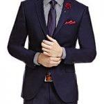 Men's Plain Dark Navy Twill Amalfi Classic Fit Suit Jacket
