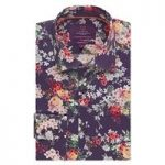 Curtis Purple Floral Design Slim Fit Men's Shirt – Single Cuff