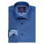 Men's Blue Dobby Slim Fit Shirt – Curtis Single Cuff
