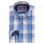 Curtis Blue & Navy Medium Check Slim Fit Men's Shirt – High Collar