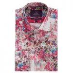 Curtis Bright Pink Floral Design Slim Fit Men's Shirt – Single Cuff