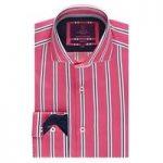 Curtis Pink & Navy Multi Stripe Slim Fit Men's Shirt – High Collar