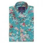 Curtis Turquoise Floral Slim Fit Men's Shirt – High Collar