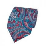 Men's Red & Pink Printed Paisley Tie – 100% Silk