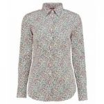 Women's White & Red Floral Print Fitted Shirt – Single Cuff