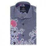 Curtis Navy Paisley Print Slim Fit Men's Shirt – High Collar