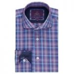 Curtis Navy & Orange Multi Check Slim Fit Men's Shirt – High Collar
