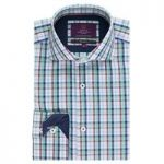 Curtis Navy & Green Check Slim Fit Men's Shirt – High Collar