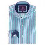 Curtis Turquoise & Purple Multi Stripe Slim Fit Men's Shirt – High Collar